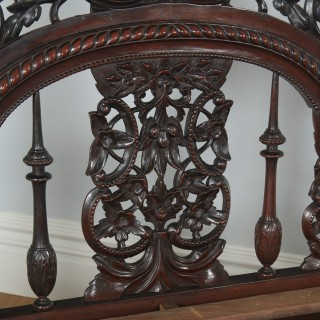 """Antique 5ft 7"""" Victorian Anglo-Indian Colonial King Size Four Poster Bed (Circa 1880)"""