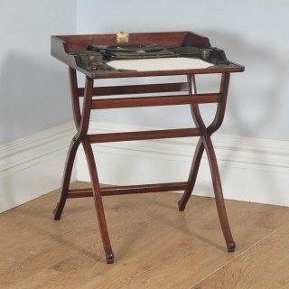 Antique English Victorian Mahogany Folding Campaign Writing Compendium Desk Table (Circa 1890)