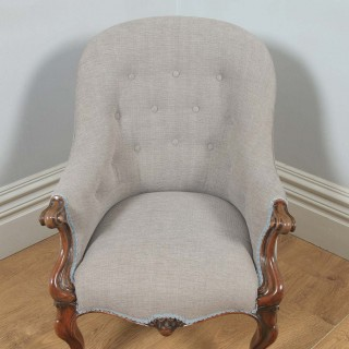 Antique English Victorian Mahogany Grey Taupe Upholstered Tub Armchair (Circa 1850)