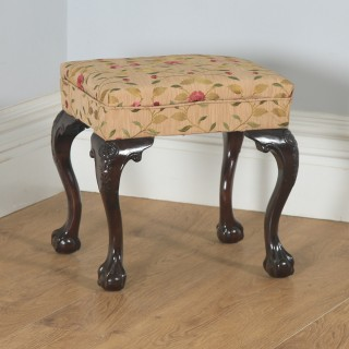 Antique English Georgian Chippendale Style Mahogany Upholstered Stool (Circa 1880)