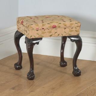 Antique English Georgian Chippendale Style Mahogany Upholstered Stool (Circa 1880)