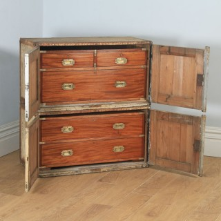 Antique English Victorian Colonial Mahogany & Brass Military Campaign Chest of Drawers with Original Transportation Case (Circa 1850)