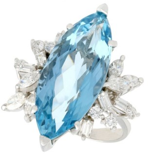 8.54ct Aquamarine and 1.66ct Diamond, 15ct White Gold Dress Ring - Vintage Circa 1960