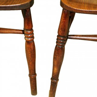 19th Century English Set Of 8 Kitchen Windsor Dining Chairs