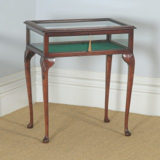 Antique Edwardian Queen Anne Style Mahogany Inlaid Glass Bijouterie Display Cabinet Table (Circa 1910)