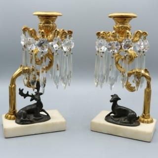 Pair of early 19th Century bronze & ormolu Deer Candlesticks