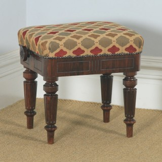 Antique English Victorian Rosewood Upholstered Rise & Fall Height Adjustable Stool (Circa 1850)