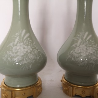 Pair Of Late 19th Century Pate Sur Pate Porcelain Lamps