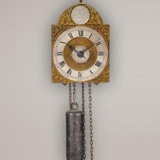 JOHN HATHORN. A GOOD 18TH CENTURY MINIATURE BRASS TIMEPIECE LANTERN CLOCK WITH ALARM.
