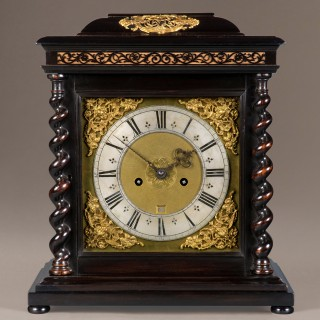 JOHANNES EBSWORTH, LONDINI.  A LATE 17TH CENTURY EBONY & GILT MOUNTED TABLE CLOCK