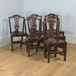 Antique English Set of Six Georgian Hepplewhite Solid Oak Country Dining Chairs (Circa 1800)