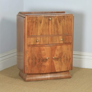 Antique English Art Deco Burr Walnut Cocktail Bow Front Cabinet by F.H. Marshall (Circa 1940)
