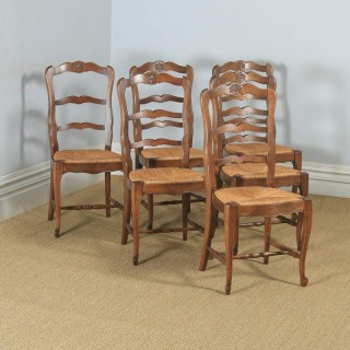 Antique French Set of 6 Six Louis XV Style Oak Ladder Back Kitchen Dining Chairs (Circa 1910)