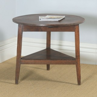 Antique English Georgian Circular Oak Cricket Occasional Table (Circa 1780 - 1820)
