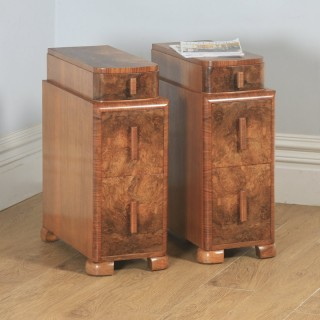 Antique English Pair of Art Deco Burr Walnut Bedside Chests Cupboards Tables Nightstands (Circa 1930)