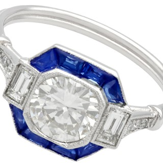 1.24 ct Diamond and 0.52 ct Sapphire, Platinum Engagement Ring