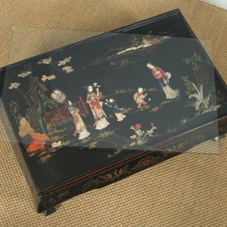 Antique Oriental Victorian Ebony Black Lacquered Glass Top Inlaid Opium / Coffee Table (Circa 1840)