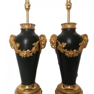 Pair Of 19th Century French Bronze And Gilt Lamps