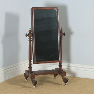 Antique English Victorian Flame Mahogany Floor Standing Rectangular Cheval / Dressing Mirror (Circa 1860)
