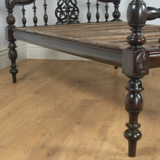 """Antique 4ft 6"""" Victorian Anglo Indian Colonial Raj Double Four Poster Bed (Circa 1880)"""