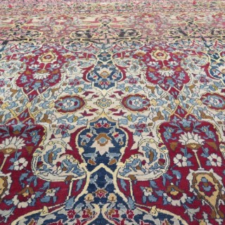 Exceptional c.1880 Isfahan carpet, in a rare square shape