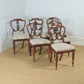 Antique Set of 6 Six English William IV Rosewood Carved Dining Chairs (Circa 1835)