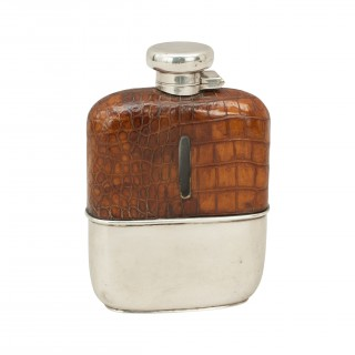 Vintage Silver Hip Flask With Leather Cover By Deakin & Francis, Birmingham 1926