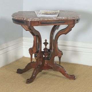 Antique English Aesthetic Teak & Marble Top Occasional Side Basket Base Table (Circa 1890)