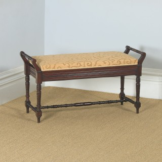 Antique English Victorian Mahogany Upholstered Piano / Music / Duet Stool (Circa 1890)