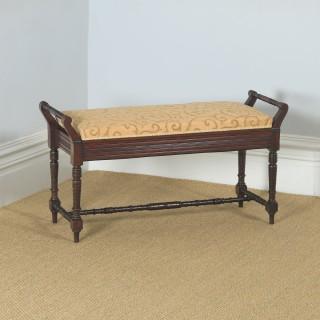 Antique English Victorian Mahogany Upholstered Piano / Music / Duet Stool (Circa 1890)