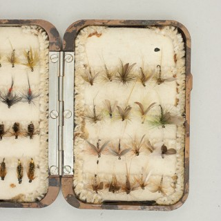 Small Hardy Neroda Trout Fishing Fly Box With Flies.