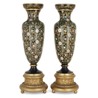 Pair of Bohemian glass vases on giltwood bases