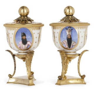 Pair of ormolu mounted Flight, Barr & Barr porcelain bowls of Persian interest