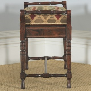 Antique English Victorian Rosewood & Satinwood Inlaid Piano / Music / Duet Stool (Circa 1890)