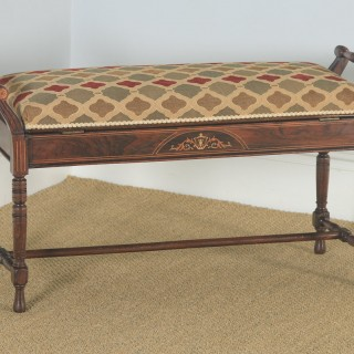 Antique English Victorian Rosewood & Satinwood Inlaid Piano / Music / Duet Stool (Circa 1890)