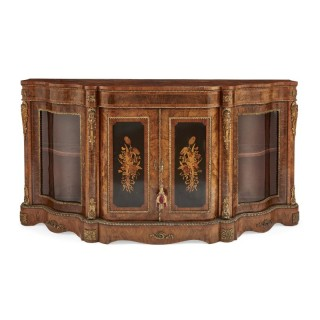 Victorian period gilt bronze and ebonised wood marquetry cabinet