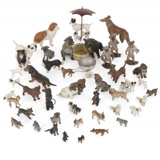 Set of 38 Viennese bronze dogs of various sizes and finishes