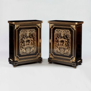 Pair of Ebonised and Brass Side Cabinets in the Manner of Andre Charles Boulle