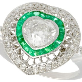 0.68ct Emerald and 2.62ct Diamond, Platinum Dress Ring - Antique and Contemporary