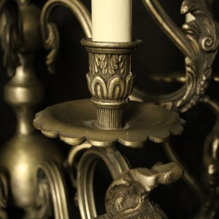 Italian Large Silver Gilded 5 Arm Wall Lights