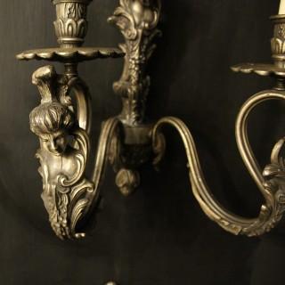 Italian Set Of 4 Silver Gilded Wall Lights