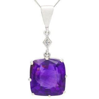 5.31ct Amethyst and Diamond, 9 ct White Gold Silver Set Pendant - Antique Circa 1930