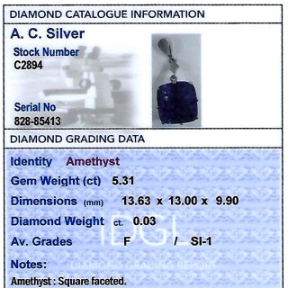 5.31ct Amethyst and Diamond, 9 ct White Gold Silver Set Pendant - Antique Circa 1930