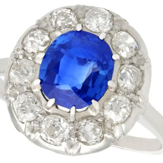 2.25ct Sapphire and 0.78ct Diamond, Platinum Dress Ring - Vintage French Circa 1940