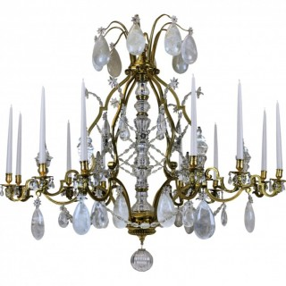 A LARGE LOUIS XV STYLE GILT BRONZE ROCK CRYSTAL CHANDELIER
