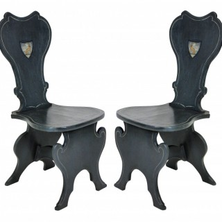 A PAIR OF ENGLISH PAINTED HALL CHAIRS