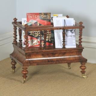 Antique English Victorian Burr Walnut Canterbury Magazine Rack Tidy (Circa 1850)