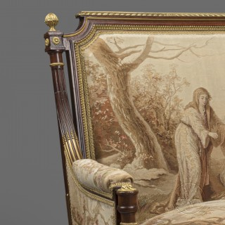 A Fine Pair of Louis XVI Style Mahogany and  Aubusson Tapestry Upholstered Bergeres