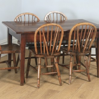 """Antique French Cherry Wood Six Seat 4ft 5"""" Refectory Kitchen Farmhouse Table (Circa 1850)"""