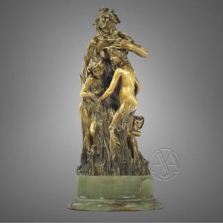'Les Violettes' A fine Gilt-Bronze Allegorical Sculpture by François-Raoul Larche